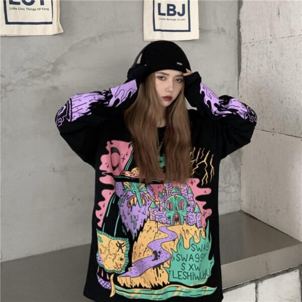 Wizzard Retro Psychedelic Sweathshirt - Orezoria Aesthetic Outfits Shop - Aesthetic Clothing - eGirl Outfits - Soft Girl Outfits.psd