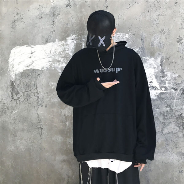Wossup Oversized Unisex Black Hoodie 1 - Orezoria Aesthetic Outfits Shop - Aesthetic Clothing - eGirl Outfits - Soft Girl Outfits