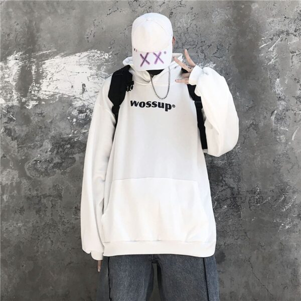 Wossup Oversized Unisex Black Hoodie 2 - Orezoria Aesthetic Outfits Shop - Aesthetic Clothing - eGirl Outfits - Soft Girl Outfits