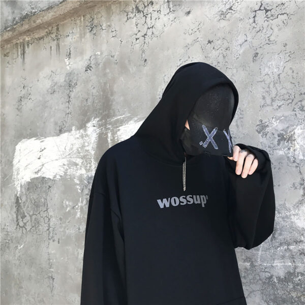 Wossup Oversized Unisex Black Hoodie 3 - Orezoria Aesthetic Outfits Shop - Aesthetic Clothing - eGirl Outfits - Soft Girl Outfits