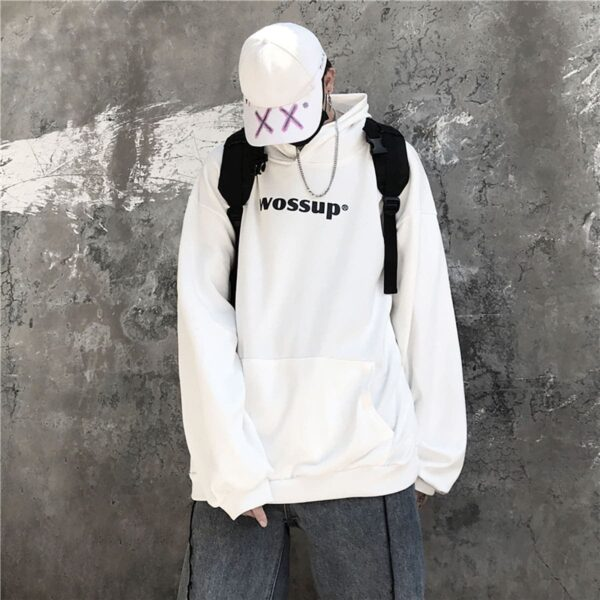 Wossup Oversized Unisex Black Hoodie 4 - Orezoria Aesthetic Outfits Shop - Aesthetic Clothing - eGirl Outfits - Soft Girl Outfits
