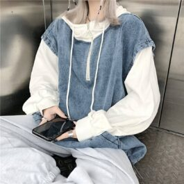 Y2K Aesthetic Loose Hooded Denim Vest 1- Orezoria Aesthetic Outfits Shop - Aesthetic Clothing - eGirl Outfits - Soft Girl Outfits