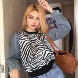 Zebra Flow Long Seeve Sweater - Orezoria Aesthetic Outfits Shop - Aesthetic Clothing - eGirl Outfits - Soft Girl Outfits.psd
