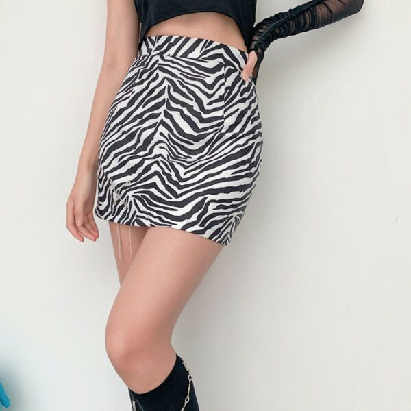 Zebra Pattern Small Chain High Waist Skirt 3 - Orezoria Aesthetic Outfits Shop - Aesthetic Clothing - eGirl Outfits - Soft Girl Outfits