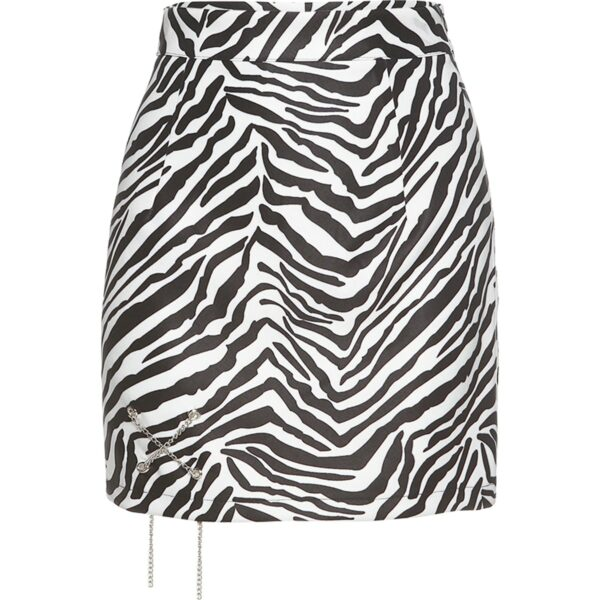 Zebra Pattern Small Chain High Waist Skirt 4 - Orezoria Aesthetic Outfits Shop - Aesthetic Clothing - eGirl Outfits - Soft Girl Outfits