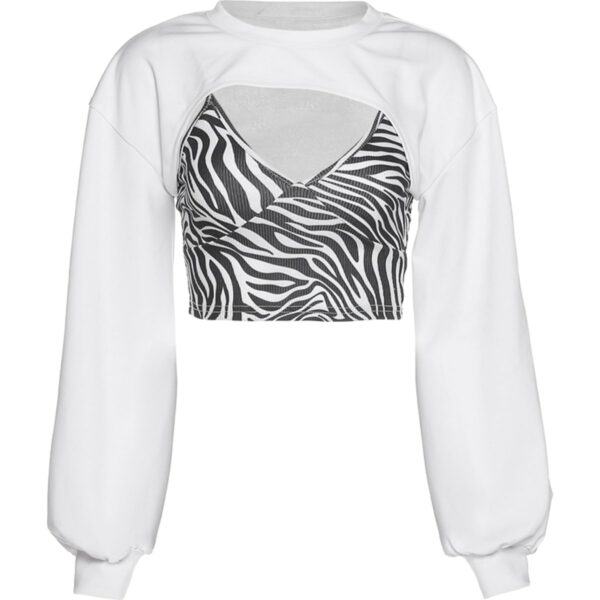 Zebra Pattern Two Piece Short Top 1- Orezoria Aesthetic Outfits Shop - Aesthetic Clothing - eGirl Outfits - Soft Girl Outfits
