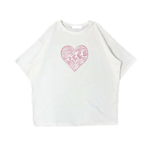 Acees Heart Pink Zebra Loose T-Shirt