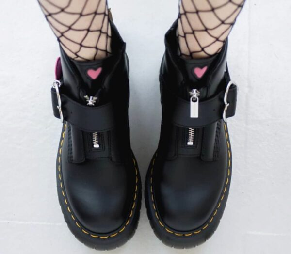 Ankle High EGirl Martens Boots Heart Buckle