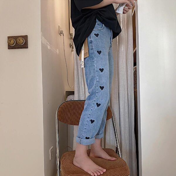 Black Hearts Straight Washed EGirl Jeans