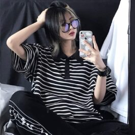 Black and White Striped Loose EGirl Polo Shirt