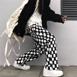 Chess Grid Korean Grunge Pants