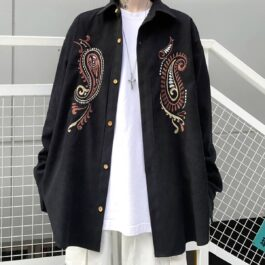 Chest Paisley Embroidery Korean Shirt