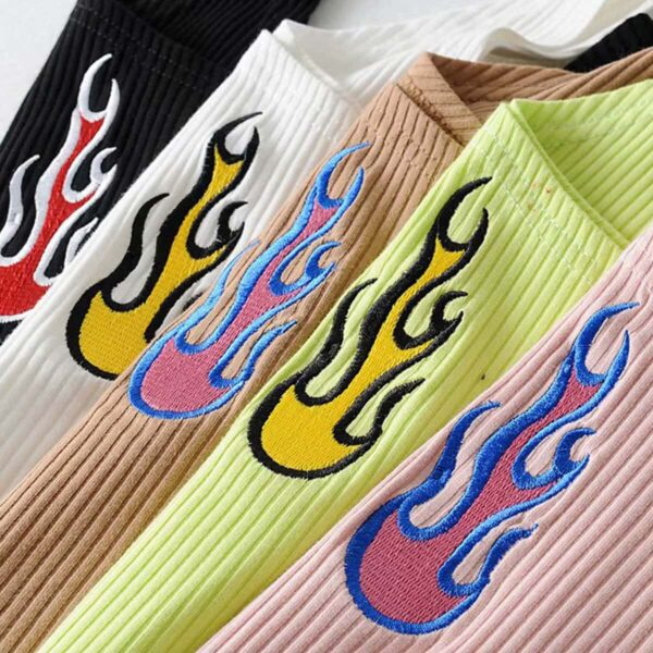 Flame Embroidery Grunge Crop Top