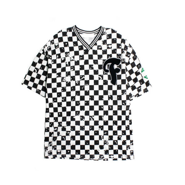 Gray Checkered Chess Grid T-Shirt American Retro