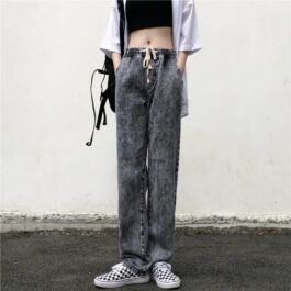 Gray Washed Grunge Jeans Elastic Waist