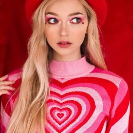 Layered Heart Pink EGirl Sweater