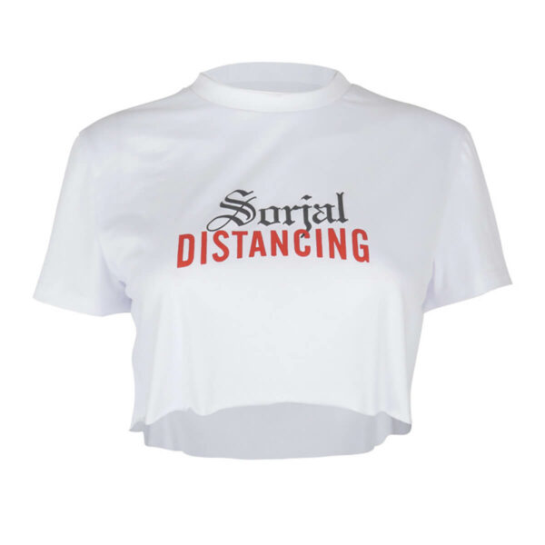 Social Distancing White Aesthetic Crop Top