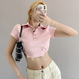 Soft Girl Polo Shirt Pastel Pink