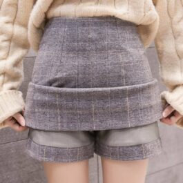 Big Square Grid Woolen Skort