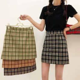 A Line Plaid Grid Student Skirt
