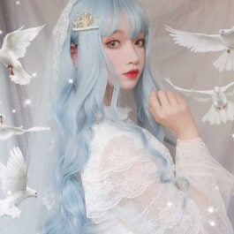 Angel Blue Long Curly Aesthetic Wig