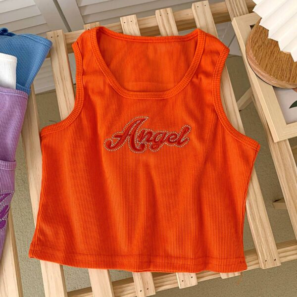 Angel Embroidery 90s Aesthetic Vest Top