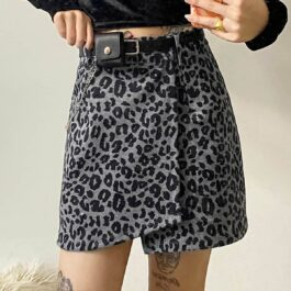 Black Leopard Skirt Retro Grunge Aesthetic