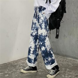 Blue Mycelium Tie Dye Wide Leg Pants