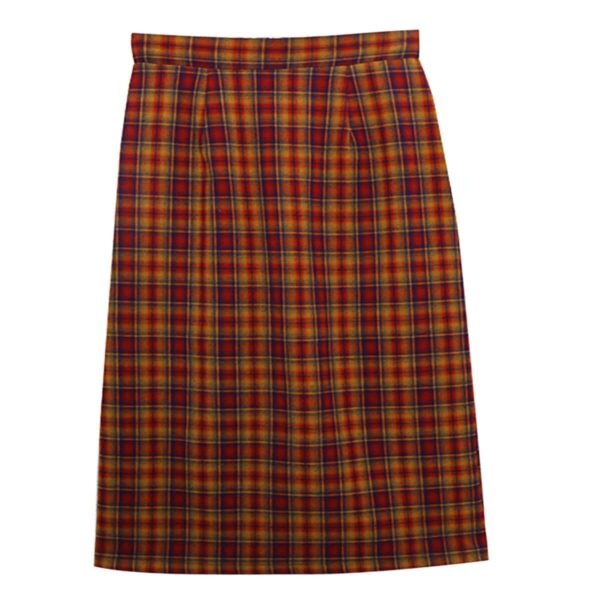 Blue and Yellow Plaid Grid Long Skirt