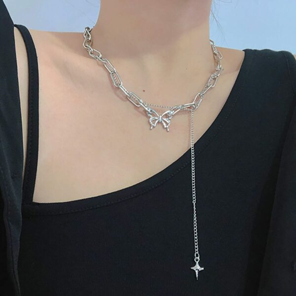 Clavicle Chain Butterfly Long Necklace