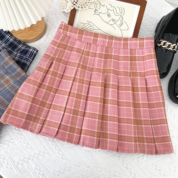 Contrast College Style Plaid Skirt