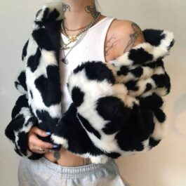 Cow Print Fluff Plush Jacket