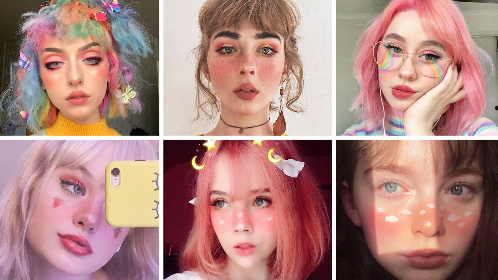 Creative and a little bit edgy Soft Girl makeup ideas if you're aiming for a Kidcore, Kawaii, or more EGirl vibe