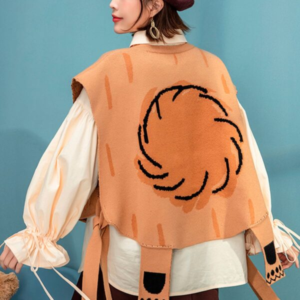 Cute Bear Knitted Aesthetic Short Poncho