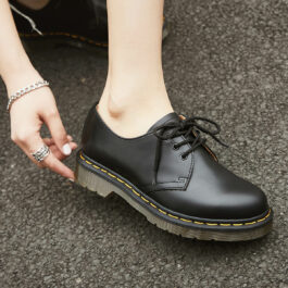Dark Academia Martens Oxford Shoes Retro Black