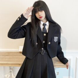 Dark Academia Suit Strap Dress with Jacket