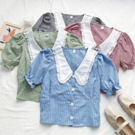Doll Collar Puff Sleeve Vintage Top
