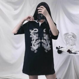 Double Lung Dragon Black Polo Shirt