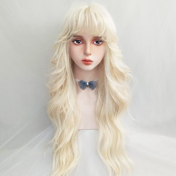 Golden White Long Curly Aesthetic Wig