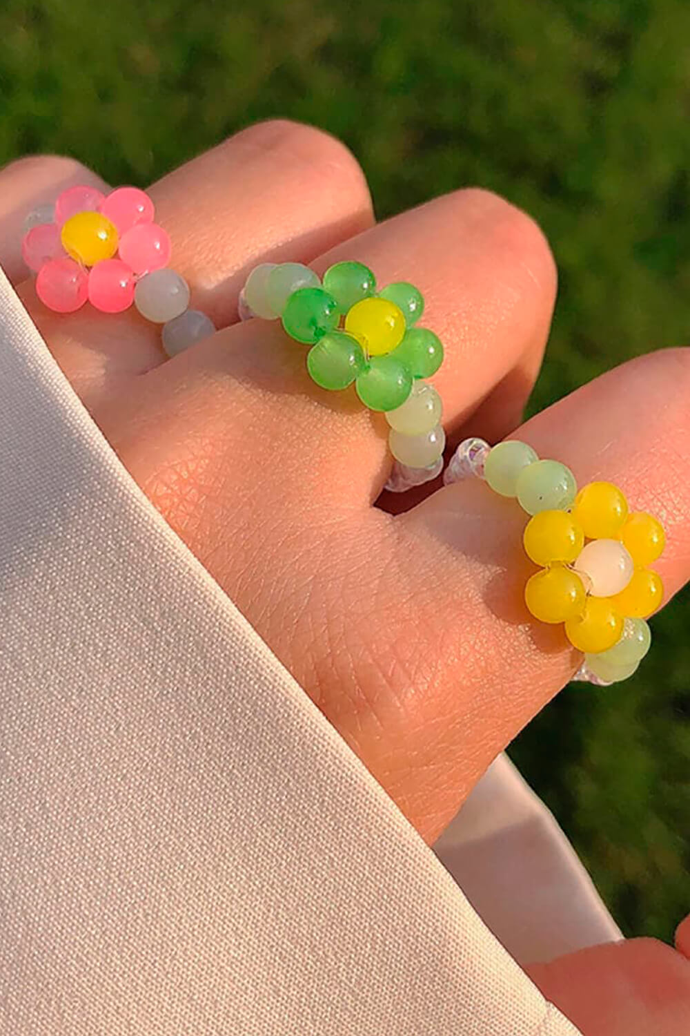Hand Crafted Beads Flower Ring