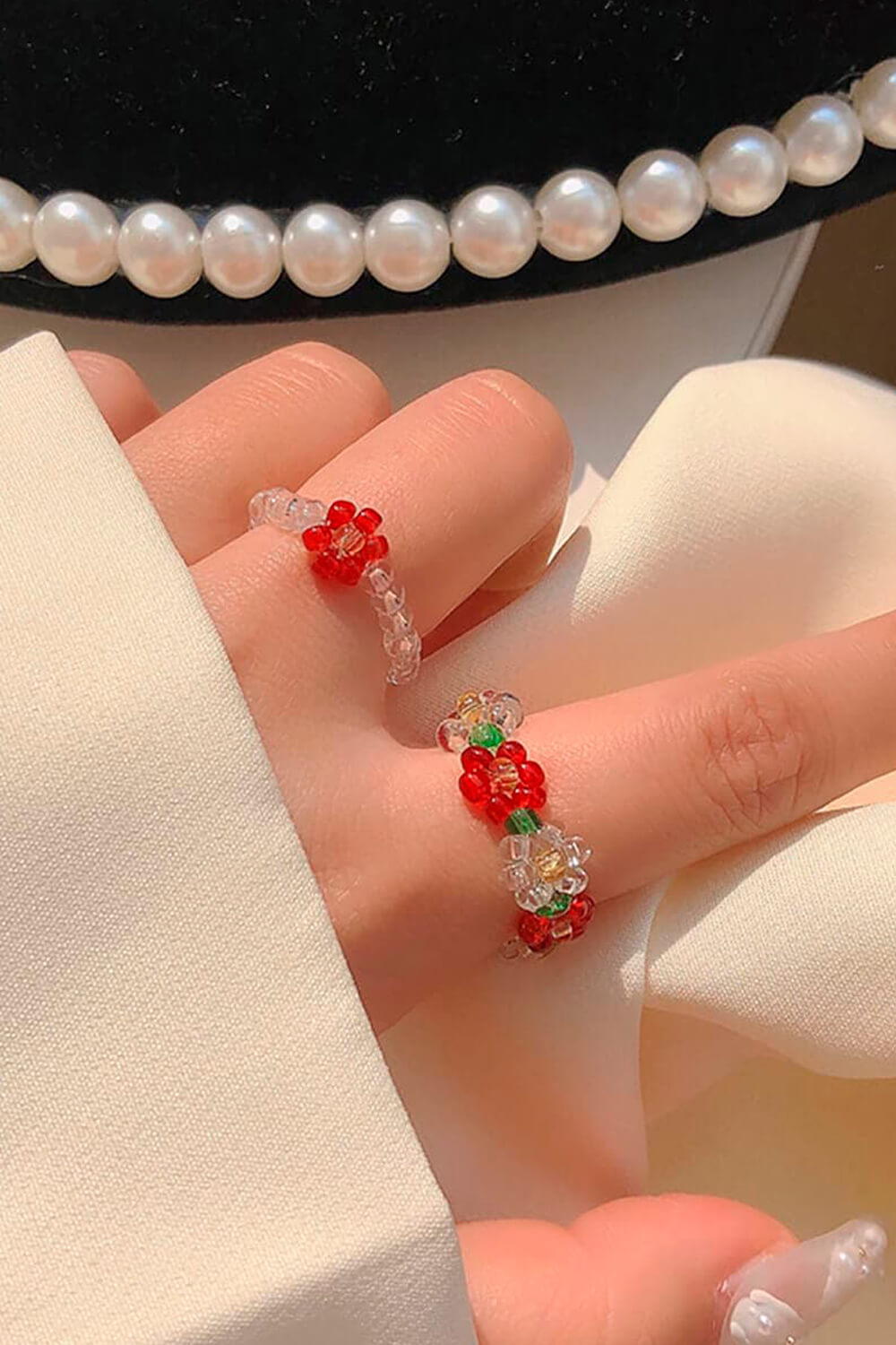 Hand Crafted Beads Red Flower Ring
