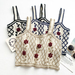 Knitted Flower Vintage Short Vest