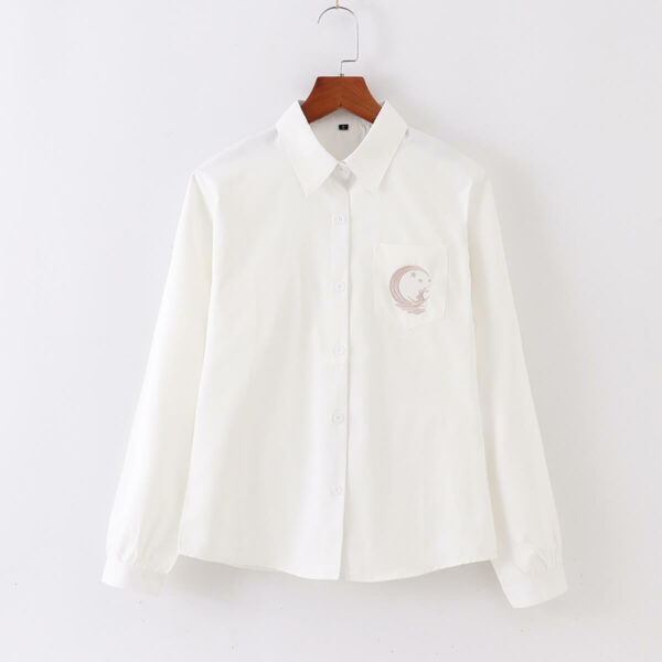 Moon Rabbit Embroidery Light Academia Shirt