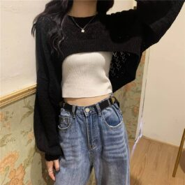Net Lace Knitted Super Cropped Top