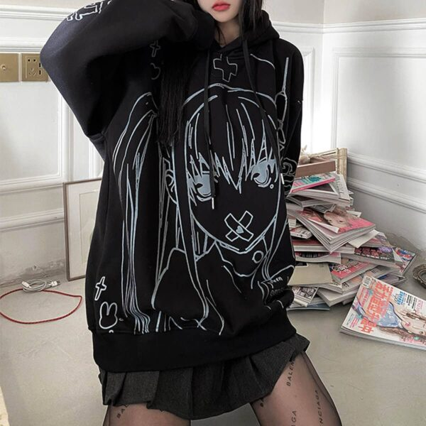 Nurse Anime Girl Black Aesthetic Hoodie