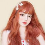 Peach Ginger Red Wavy Aesthetic Wig