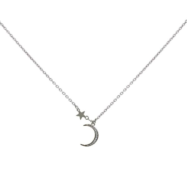Pearls and Crescent Moon Necklace