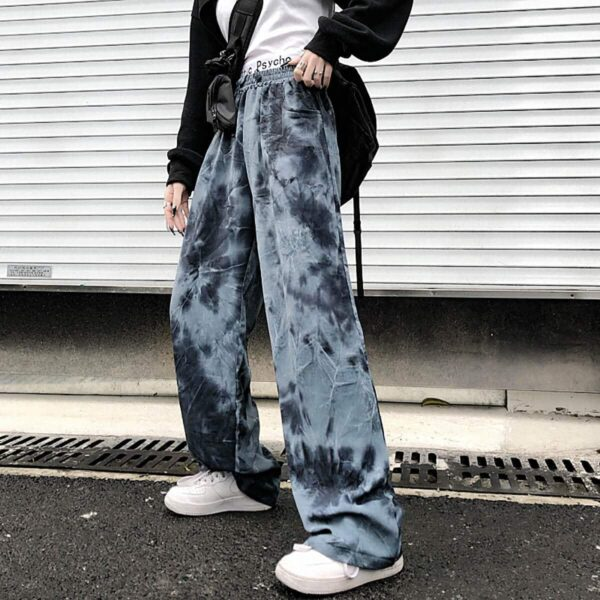 Plague Pattern Tie Dye Loose Pants