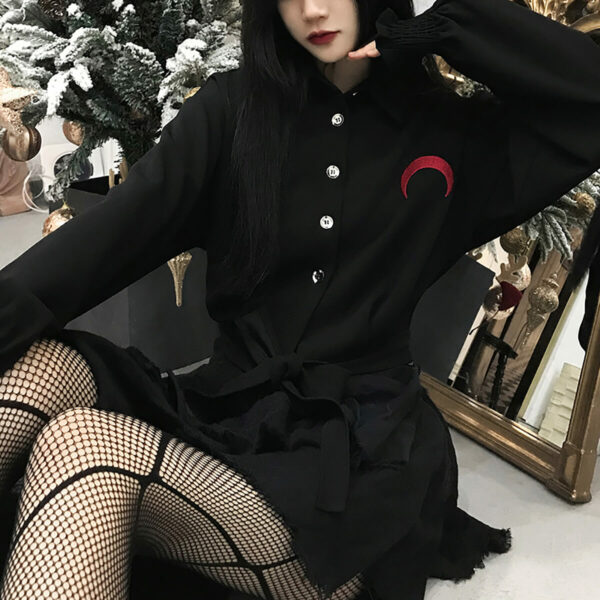 Please Return To Hell Red Moon Black Shirt