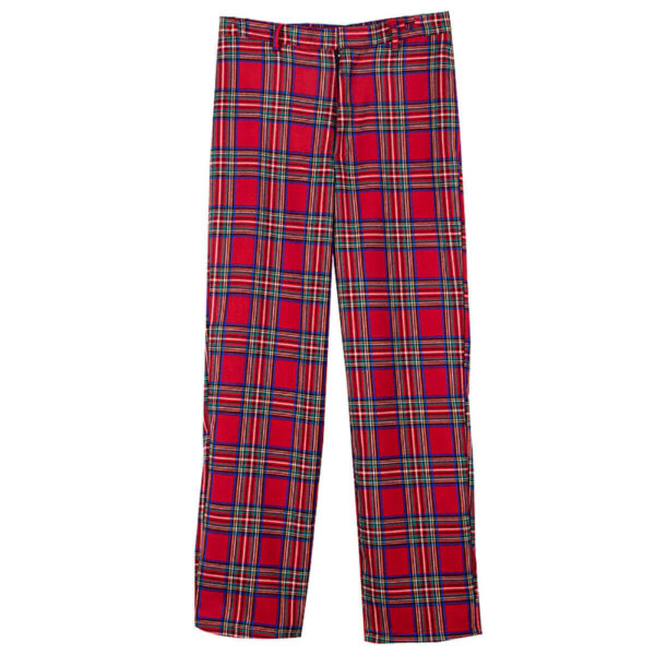 Red Plaid Grid Grunge Trousers